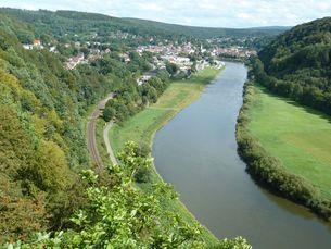 Blick vom Weser Skywalk, Beverungen. Foto UIH Ingenieur- und Planungsbüro / Schackers