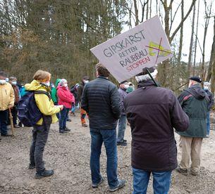 Protestaktion gegen Gipsabbau im Südharz (BUND)