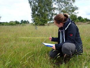 Julia Labers vom BUND erstellt die Artenliste für eine Grünlandfläche im Hohen Moor (BUND DHM)